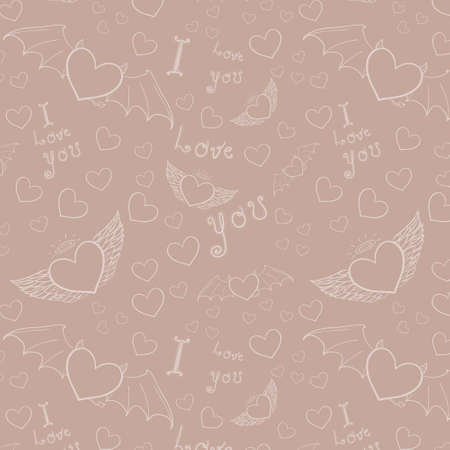love you seamless white on beige Vector