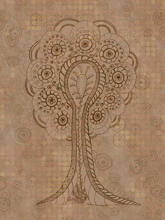 life style: Abstract beige grunge tree Illustration