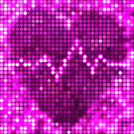 round pink mosaic spots heart with pulse Vector