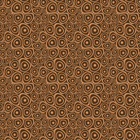Doodle circles beige brown seamless background Vector