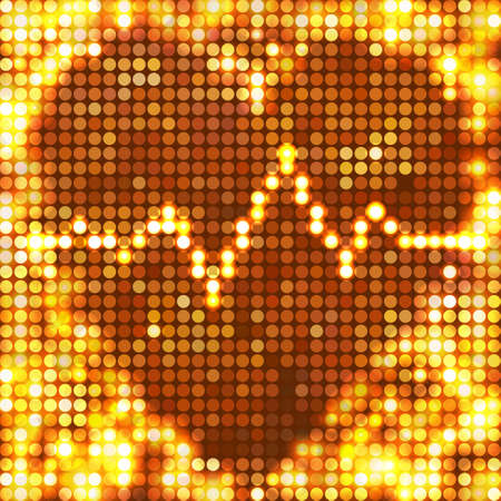 round gold mosaic spots heart with pulse Vector