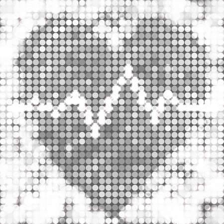 round silver mosaic spots heart with pulse Vector