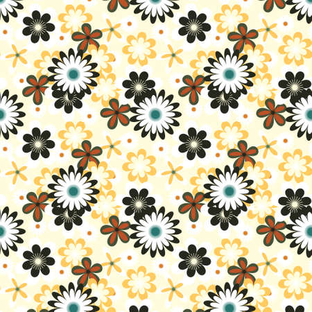 Simply seamless green flowers on white background Illustration