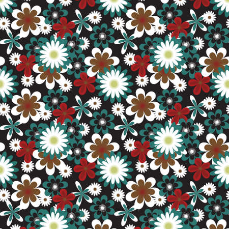 white daisy: Seamless floral pattern with many colored flowers on black background Illustration
