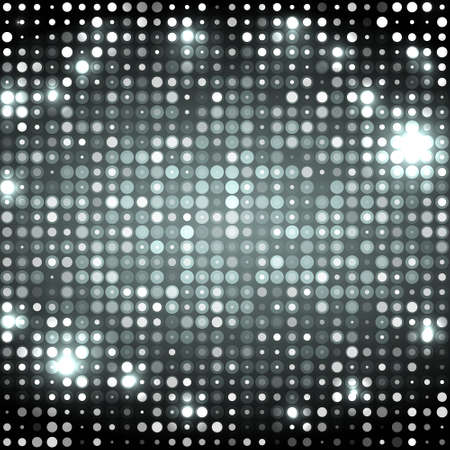 Dark grey abstract sparkling disco background with circles Illustration