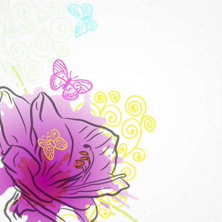 violet flower: Vector background with violet flower amaryllis, curls and butterflies on white