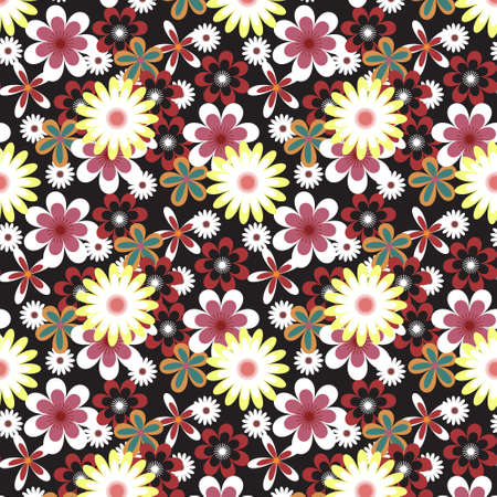 Seamless floral vector pattern with many colored flowers on black background Vector