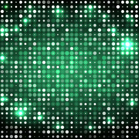 Dark emerald abstract sparkling disco background with circles Stock Illustratie