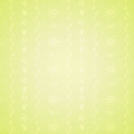 Green seamless background with hand drawn spring doodles. Vector illustration. Vector