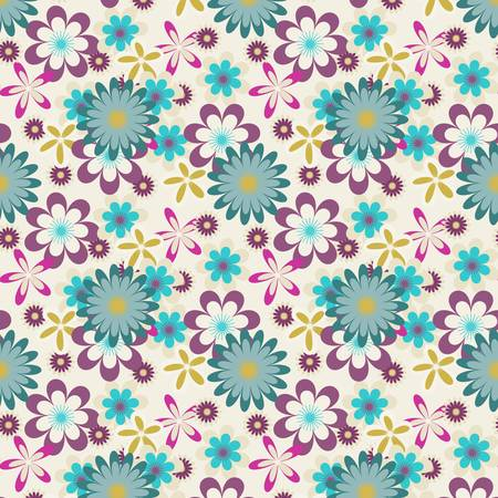 Seamless floral pattern with many colored flowers on light     background Stock Vector - 21858708
