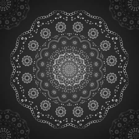 Round silver lace at center and corners on black. Vector
