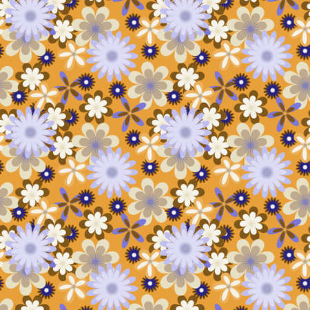 Seamless floral pattern with many colored flowers on orange    background