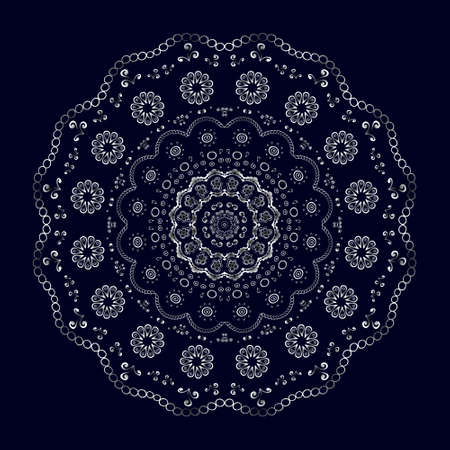 Round lace pattern, silver on black. Vector