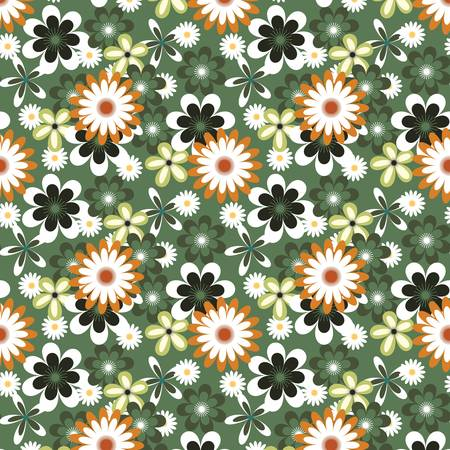 Seamless floral pattern with many colored white flowers on green background