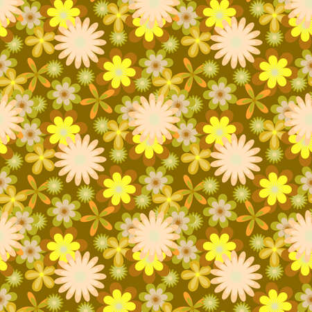 khaki: Seamless floral vector pattern with pink and yellow flowers on khaki green  background Illustration