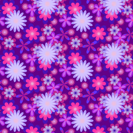 Seamless floral pattern with many colored blue flowers on violet   background Illustration