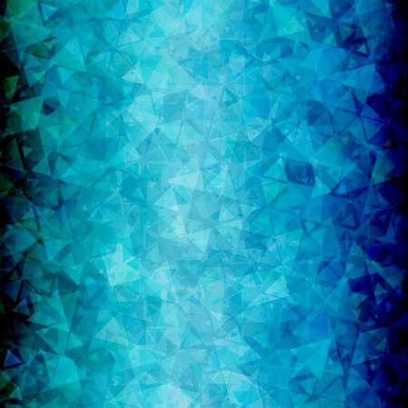 blackout: Abstracte blauwe zwarte driehoek vector achtergrond met blackout op links en rechts.