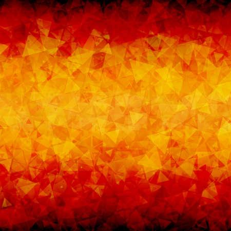 blackout: Abstracte rood oranje verspreid driehoeken vector achtergrond met blackout op de boven- en onderkant. Stock Illustratie