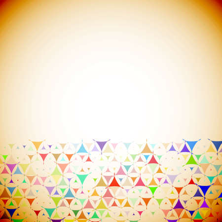 Abstract beige retro background with multicolored shapes at bottom side. Vector illustration with empty space for text message. Vector