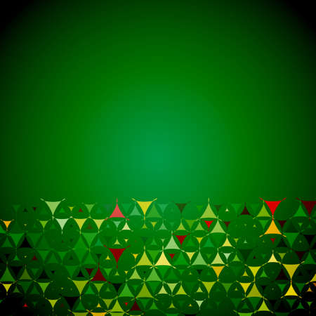 Christmas abstract green background with yellow, red and green shapes at bottom side. Vector illustration with empty space for text message. Vector