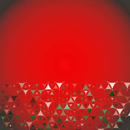 Christmas abstract red background with white, red and green shapes at bottom side. Vector illustration with empty space for text message. Vector