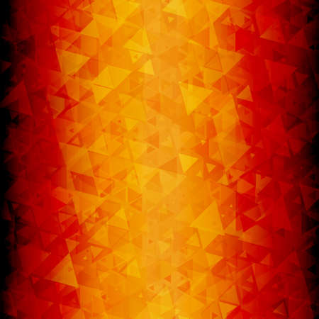 blackout: Abstracte rood oranje driehoekjes vector achtergrond met blackout op links en rechts.