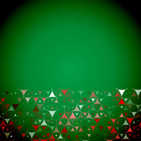 Christmas abstract green background with white, red and green shapes at bottom side. Vector illustration with empty space for text message. Vector