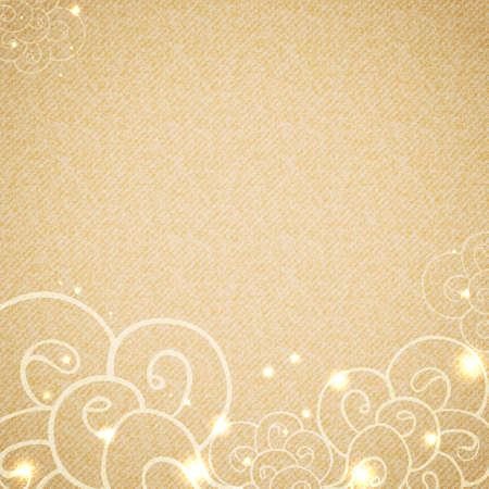 Hand drawn waves at bottom side on beige vintage cardboard texture. Decorated with sparkling lights. Template with space for your text. Vector background. Vector