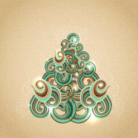 Green stylized Christmas tree composed of wavy shapes. Hand drawn curls on beige vintage cardboard texture. Decorated with sparkling lights.  Vector background. Vector