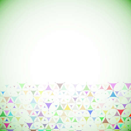 Abstract green background with multicolored shapes at bottom side. Vector illustration with empty space for text message. Vector
