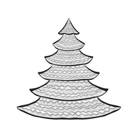 Hand drawn Christmas tree black sketch on white. Vector illustration. Vector
