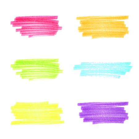 Vector  handmade marker stripes different bright colors  set of six design elements