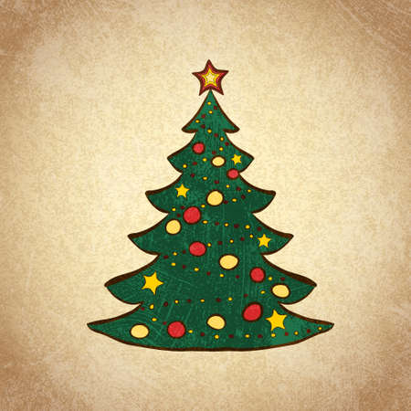 Hand drawn decorated Christmas tree  Color sketch on grunge vintage background  Vector illustration  Vector