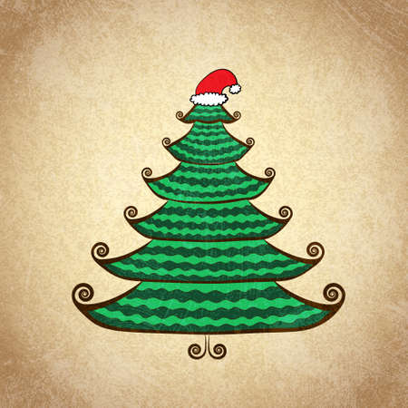 Hand drawn Christmas tree decorated with curls and Santa cap  Color sketch on grunge vintage background  Vector illustration  Vector