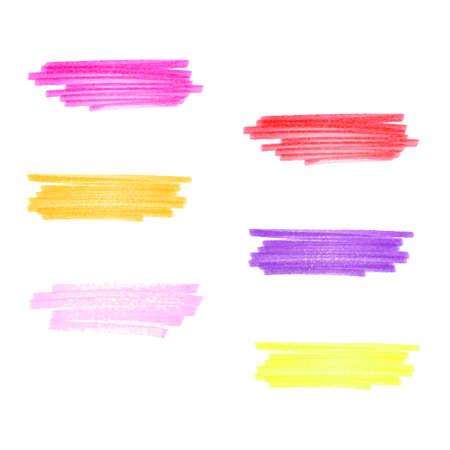 Vector handgemaakte marker strepen verschillende warme kleuren set van zes design elementen Stockfoto - 24190258