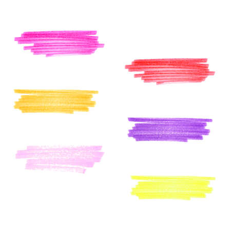 Vector  handmade marker stripes different warm  colors  set of six design elements Illustration