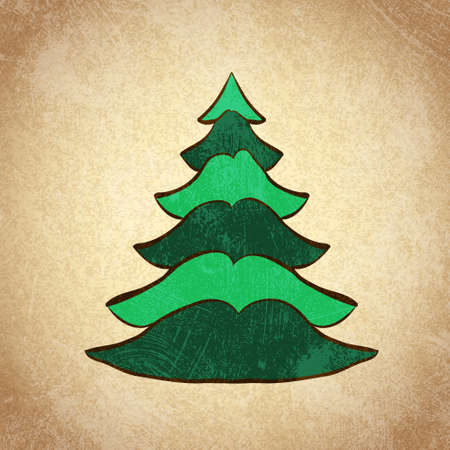 Hand drawn Christmas tree  Color sketch on grunge vintage background  Vector illustration  Vector