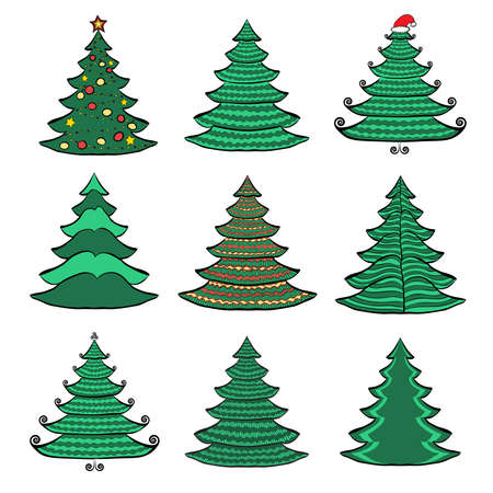 Vector set of nine Christmas trees  Color sketches on white background  Vector