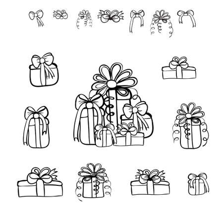 Christmas gifts and bows vector set. Black sketches on white background.