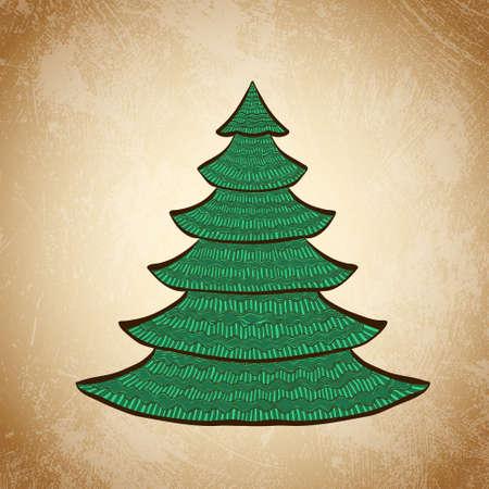 Hand drawn Christmas tree. Color sketch on grunge vintage background. Vector illustration. Vector