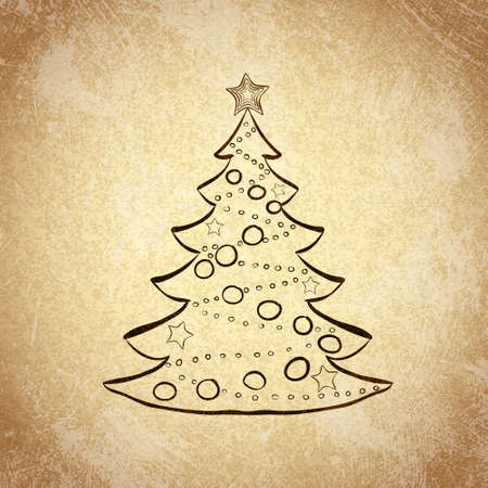 Hand drawn Christmas tree sketch on grunge vintage background. Vector illustration. Vector