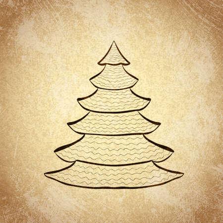 Hand drawn Christmas tree sketch on grunge vintage background. Vector illustration. Vector