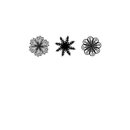 Three hand drawn snowflakes in white background. Vector
