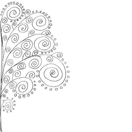 Hand drawn curly tree at left side. Vector