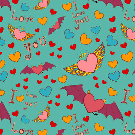 devil and angel hearts love doodle. Color vector seamless background Vector