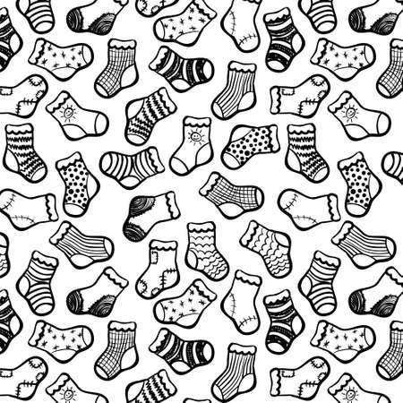 white socks: Vector hand drawn socks seamless pattern  Black on white color  Illustration