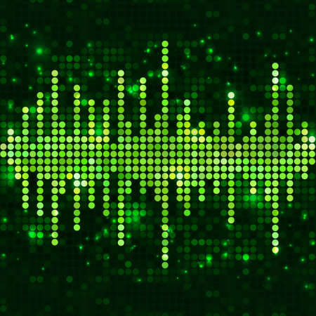 Mosaic sound wave equalizer with sparkling spots. Vector green music background. Stock Illustratie