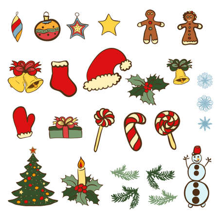 Vector set of Christmas related doodles. Color doodles on white . Stock Vector - 24249035
