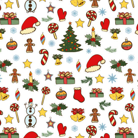 Vector Christmas hand drawn seamless pattern. Color doodles on white color. Vector