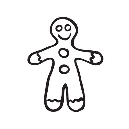 Vector hand drawn Christmas gingerbread man. Black sketch on white background. Vector